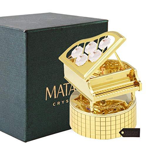 Matashi 24K Gold Plated Wind Up Music Box with Crystal Studded Grand Piano Figurine