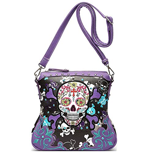 Sugar Skull Day of the Dead Cross Bone Concealed Carry Purse Women Cross Body Handbag Shoulder Bag (Purple Crossbody ()