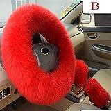 Plush Warm Steering Wheel Cover Woolen Handbrake Car Accessory Auto Fur Hot By Ugood (Color-B)