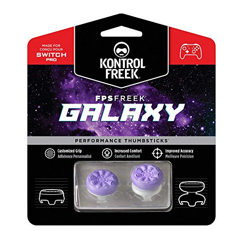 KontrolFreek FPS Freek Galaxy Performance Thumbsticks for Nintendo Switch | 1 Mid-Rise, 1 High-Rise Concave | Purple
