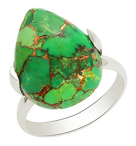 Banithani 925 argent sterling anneau de pierre turquoise vert incroyable bijoux de mode indienne