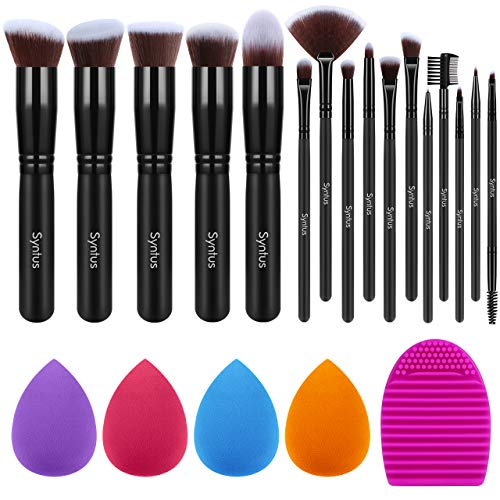 Syntus Makeup Brush Set 16 Makeup Brushes & 4 Blender Sponges & 1 Cleaning Pad Premium Synthetic Foundation Powder Kabuki Blush Concealer Eye Shadow Makeup Brush Kit, Pure Black
