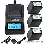 Kastar Ultra Fast Charger(3X faster) Kit and Battery (3-Pack) for Sony NP-FV100,CB-TRV,TRV-U and Sony DCR-SR15,SR21,SR68,SR88,SX21,SX45,SX63,SX65,SX85,FDR-AX100,HDR-CX105,CX130,CX155,CX160,CX190,CX200,CX260V,CX290,CX300,CX305,CX330,CX350V,CX360V,CX380,CX430V,CX550V,CX560V,CX580V,CX700V,CX760V,CX900,HC9,PJ10,PJ50,PJ200,PJ340,PJ380,PJ430V,PJ540,PJ580V,PJ650V,PJ710V,PJ760V,PJ790V,PJ810,TD10,TD20V,TD30V,XR155,XR160,XR260V,XR350V,XR550V,HXR-NX3D1U,NX30U,NX70U,NEX-VG10,VG30,VG30H,VG900,DEV-5,DEV-50