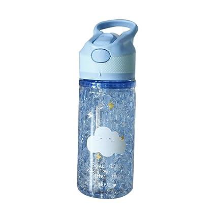 Cutowin - Botella de plástico con pajita de verano, diseño creativo para café con agua