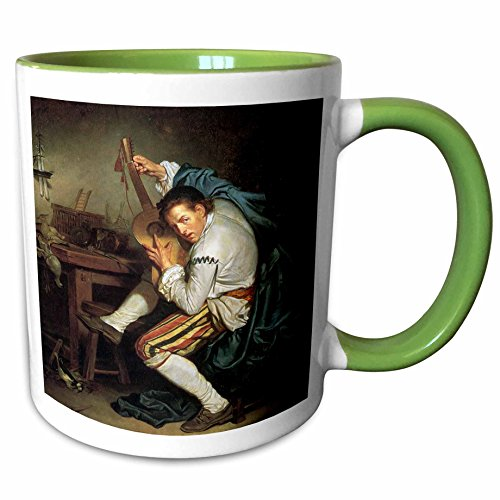 3dRose BLN Music Featured in Fine Art Collection - The Guitarist, c. 1760 by Jean Baptiste Greuze Man Playing a Guitar - 15oz Two-Tone Green Mug (mug_172078_12) ()