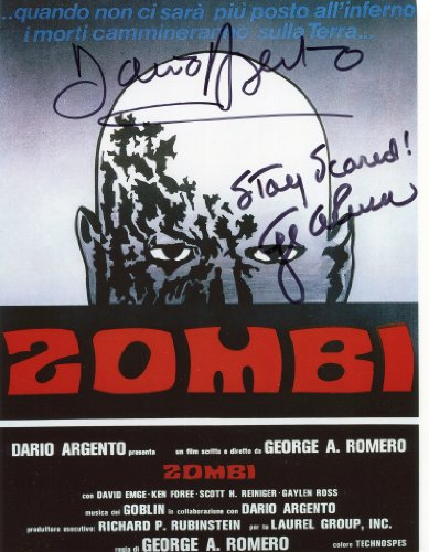 Dario Argento & George A Romero Signed / Autographed 8x10 Glossy Movie Poster Photo from Dawn of the Dead AKA 'Zombi'. Includes Fanexpo Fanexpo Certificate of Authenticity and Proof. Entertainment Autograph Original. from Star League Sports