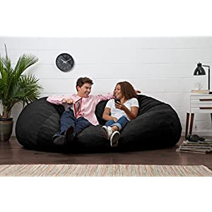 Big Joe XL Fuf Foam Filled Bean Bag Chair, Comfort Suede, Black Onyx