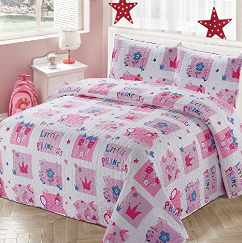 Better Home Style White and Pink Little Princess Kids/Girls Coverlet Bedspread Quilt Set with Pillowcases with Crown Castle Flowers and Butterflies Imagery # 2017206 (Queen/Full) (Girls Quilts Queen)