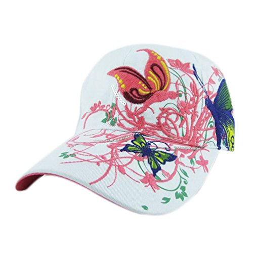 Botrong Embroidered Baseball Cap Lady Fashion Shopping Cycling Duck Tongue Hat (White)