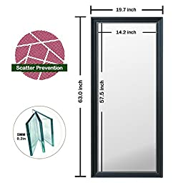 MEMORIAL DAY SALE! 60in x 23in Adjustable Full Length Rectangular Leaning Mirror W/ Black Frame & Wall Mounts
