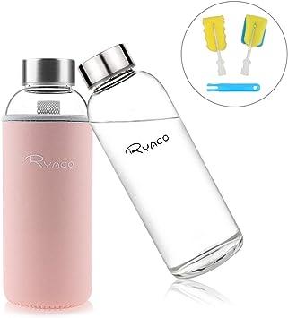 Ryaco Botella de Agua Cristal 450ml, Botella de Agua Reutilizable ...