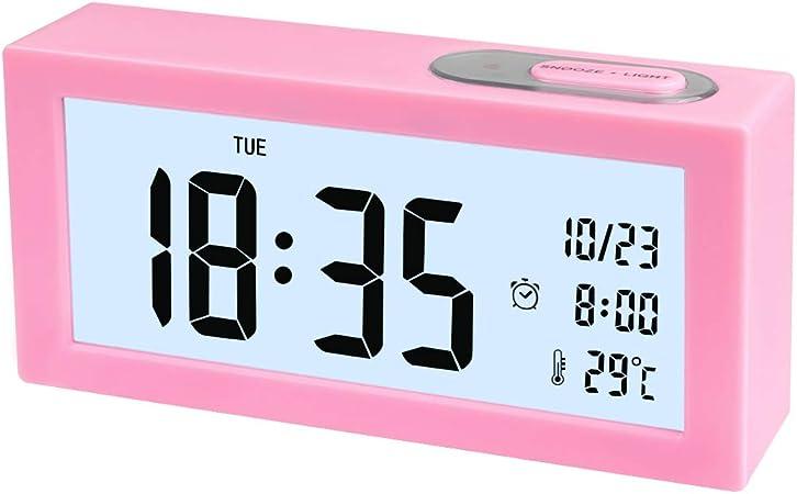 EASEHOME R/éveil Digital Alarme Horloge Num/érique Pink Alarm Clock R/éveil LED Lumineux R/éveil /à Pile Silencieux Temp/érature Calendrier Veilleuse Snooze pour Enfants Adultes