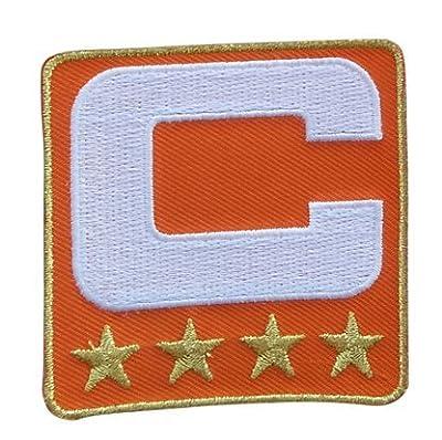 Orange Captain C Patch (4 Gold Stars) Iron On for Jersey Football, Baseball. Soccer, Hockey, Lacrosse, Basketball