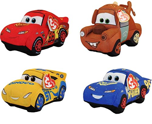 (Ty Disney / Pixar Cars 3 Beanie Babies Set of 4 (Cruz, Mater, Hero and Fabulous McQueen), FREE GIFT with)