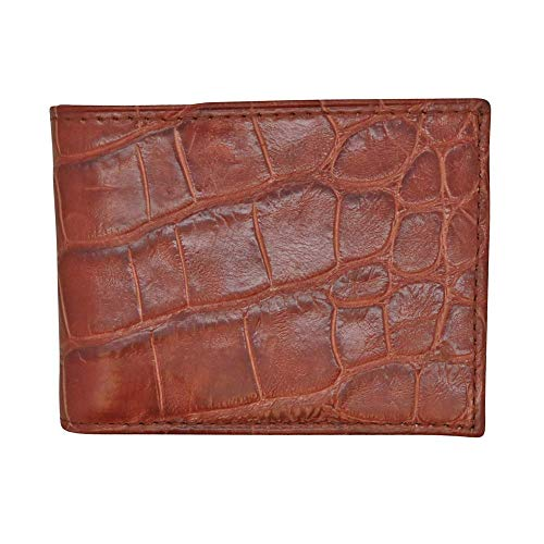 Cognac Genuine Millennium Alligator Bifold Wallet - RFID Blocking - American Factory Direct - Large Tile - Made in USA by Real Leather Creations FBA1161