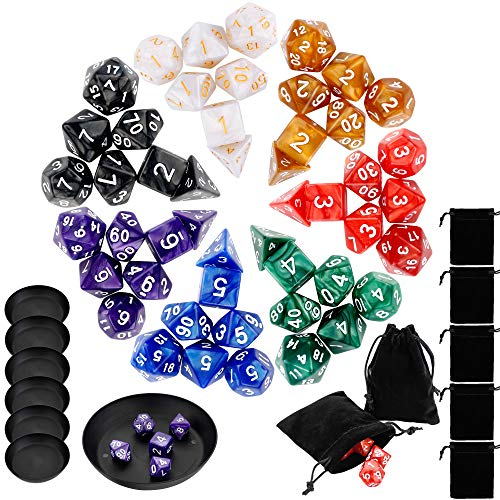 Augshy 49 Pcs Dungeon and Dragons Dice Set,Give 7 Pcs Pouches and 7 Pcs Dice Plates for Free (Best Dungeons And Dragons Pc Game)
