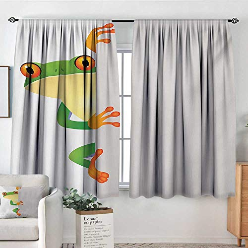 "Mozenou Reptile Room Darkening Curtains Funky Frog Prince with Big Eyes on Wall Camouflage Nursery Reptiles Theme Thermal Blackout Curtains 55"" W x 63"" L Green Yellow Orange"
