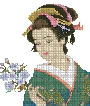 Zamtac Needlework 14CT 16CT 18CT Cross Stitch, DIY Count Cross Stitch, Embroidery Set,Pinn_Japan Women's 1 - (Cross Stitch Fabric CT Number: 18CT unprinted)
