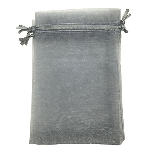 COTOSEY Sosam 100PCS 5x7 Inches Organza Drawstring Pouches Jewelry Party Wedding Favor Gift Bags (5x7, Gray)