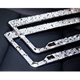 BUG HULL Bling Bling License Plate Frame (2 Pack) for Car / Truck / Vehicle, Handmade Waterproof, 2-Holes Stainless Steel Plate Frame & Matching Anti-thift Screws (Clear-02)