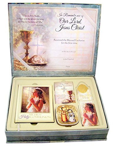 Deluxe First Communion Gift Set for Girls with Mass Book, Rosary, Scapular and Certificate -
