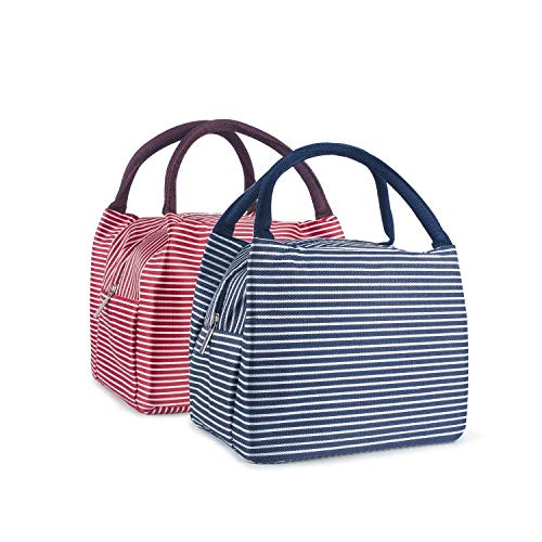 Lunch Bag LYNOON Insulated Lunch Box 2PCS Mini Tote Lunch Organizer Diaper Bag Handbag Large Capacity For Women/Men/Children/Kids/Student (Red+Navy Blue)