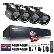 SANNCE 16CH HD 720P Security Camera System with 2TB Hard Drive and (4) 720P Superior Night Vision CCTV Cameras with P2P Technology, Motion Detection & Alarm Push, Vandal and WeatherProof Body