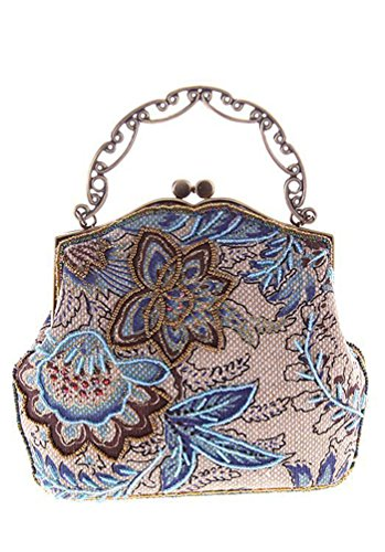 B Bag Vintage Modell Women Banquet Wallet Print Blue Evening Goco Wedding Party Clutch Floral Urban Dinner Bag Zw5OxwHa