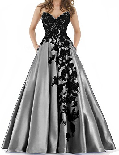 37e0963570 BessDress Sweetheart Lace Applique Prom Dresses 2018 With Pockets Long Satin  Evening Party Ball Gown BD424