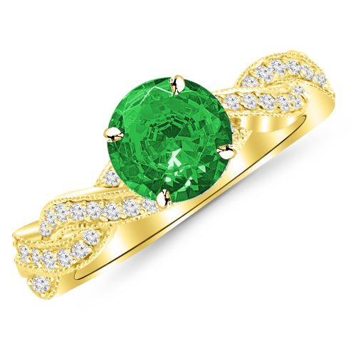 1.28 Carat 14K Yellow Gold Twisting Designer Eternity Love Split Shank Diamond Engagement Ring With Milgrain with a 1 Carat Natural Emerald Center (Heirloom Quality)