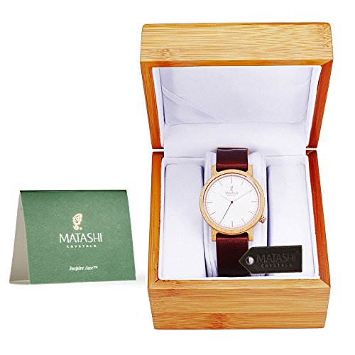 Matashi Mens and Womens Casual Wooden Wrist Watch with Brown Leather Strap, 1ATM Water Resistant, Business or Travel, Swiss Movement by Matashi