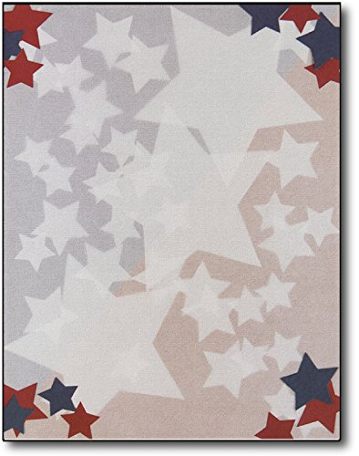 Patriotic Stars Letterhead Paper - 80 Sheets by Great Papers!