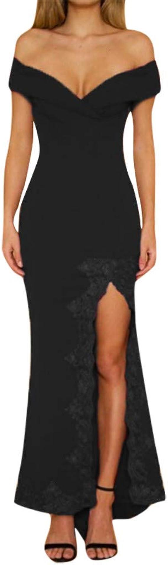 Babaseal Womens Dress Crew Neck Long Sleeve One Shoulder Bodycon Split Dress