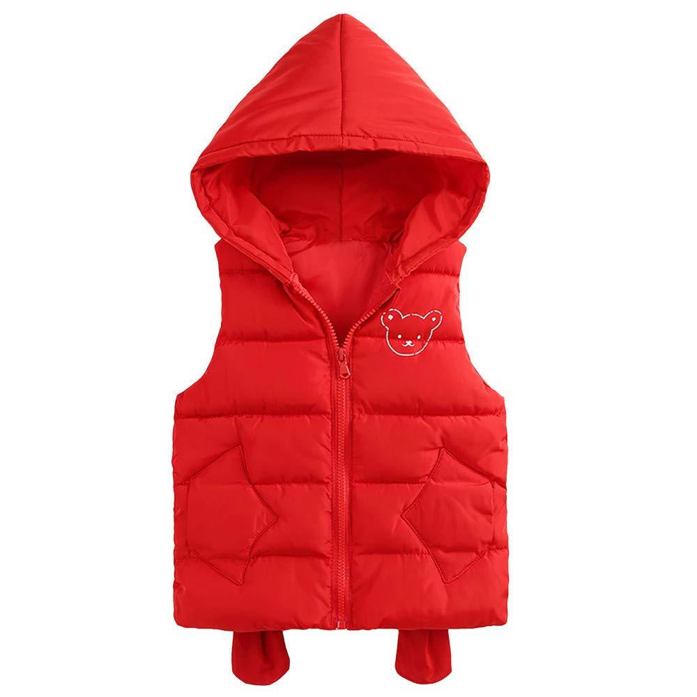 Kobay Kleinkind Baby Mädchen Jungen Ärmelloses Cartoon Solid Winter Warme Dicke Kapuze Weste Outwear