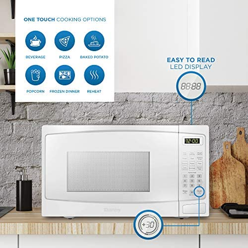 Danby DBMW0720BWW 0.7 Cu.Ft. Countertop Microwave In White - 700 Watts, Small Microwave With Push Button Door