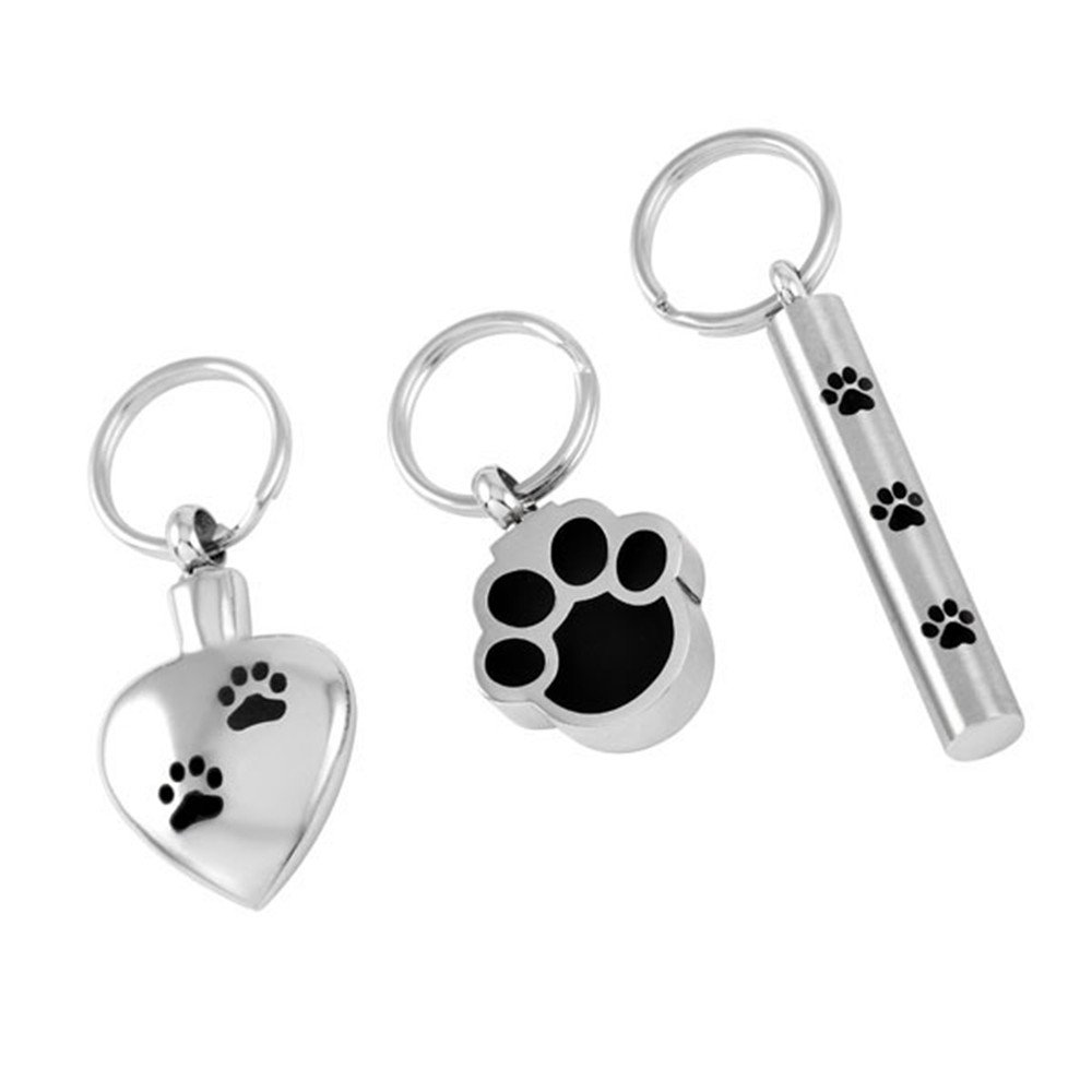 Love of Life SS8309 3 Pieces/Lot Stainless Steel Pet Memorial Key Chain Ashes Keepsake Urn Key Chain/Key Ring
