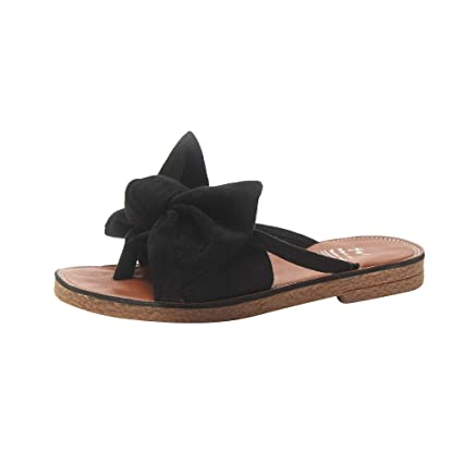 4ae66653c Amazon.com  Slipper Women Fashion Solid Color Bow tie Flat Heel Sandals  Beach Shoes Toponly  Arts
