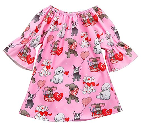 Seven Young Baby Girls Dress,Valentine Puppies Print Toddler Kids Off-Shoulder Flouncy Ruffle Dresses (Pink, 18-24 Months)