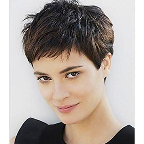 Short Brown Cute Pixie Wigs for Women Natural Color Short Layered Syntheic Hair Ladies Wig (Wig Web)