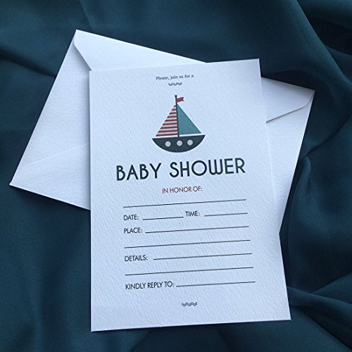 30 Invitations with Envelopes, Navigation Baby Shower Invitation Cards, 5x7 Inches