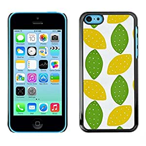 FECELL CITY // Duro Aluminio Pegatina PC Caso decorativo Funda Carcasa de Protección para Apple Iphone 5C // Lime Polka Dot Art Leaves Pattern