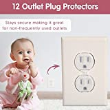 Wittle Self Closing Outlet Covers (6 White) Plus 12 Clear Plug Cover Outlet Protectors - Baby Proofing Outlets with Electrical Child Safety Kit