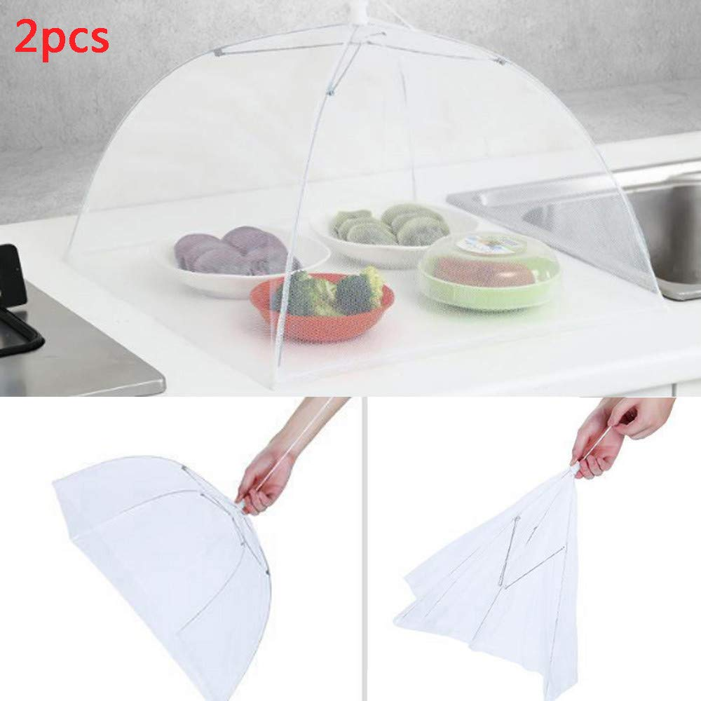 2PCS Food Cover Tent Large Pop-Up Mesh Screen Protector Collapsible Dome Net Food Umbrella for Home Outdoor Picnic (White)