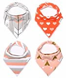 "Baby Bandana Drool Bibs for Girls 100% Waterproof Organic Cotton With Snaps and Back Pocket (4-Pack) by American Kiddo for Drooling and Teething Babies and Toddlers - ""Sweetheart"" Gift Set"