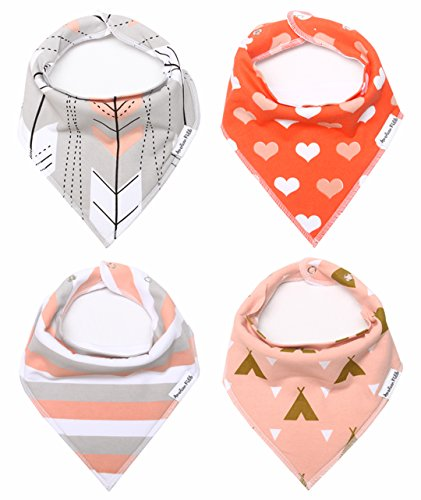 "Baby Bandana Drool Bibs for Girls 100% Waterproof Organic Cotton With Snaps and Back Pocket (4-Pack) by American Kiddo for Drooling and Teething Babies and Toddlers – ""Sweetheart"" Gift Set"