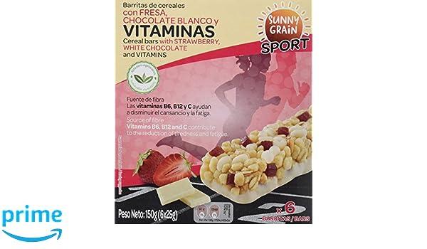 Sunny Grain Sport Barrita Energética con Fresa y Chocolate Blanco - Paquete de 12 x 150 gr - Total: 1800 gr: Amazon.es: Alimentación y bebidas