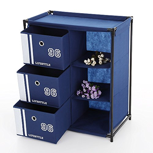IKAYAA Fabric Home Office Storage Cabinet Organizer Box with 3-Drawer 3 Grids