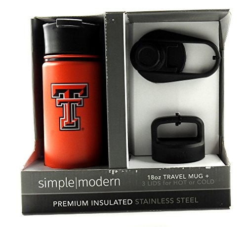 Real Value LLC Simple Modern Texas Tech Insulated Stainless Steel 18oz Travel Mug + 3 Lids, Red