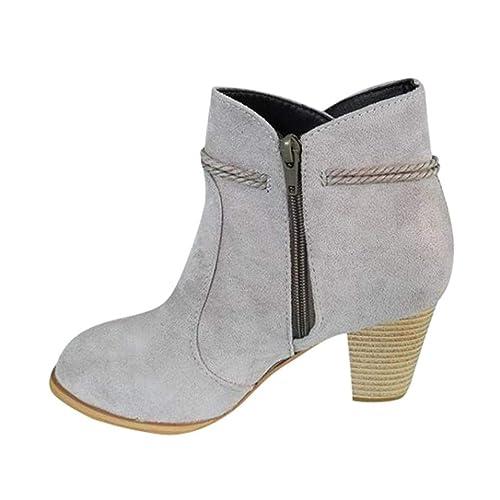 Botines Tacón Ancho de para Mujer Otoño Invierno 2018 Moda PAOLIAN Botas Chelsea Bajos Zapatos de Cuero Señora Calzado de Zuecos con Flecos Dama Botas ...