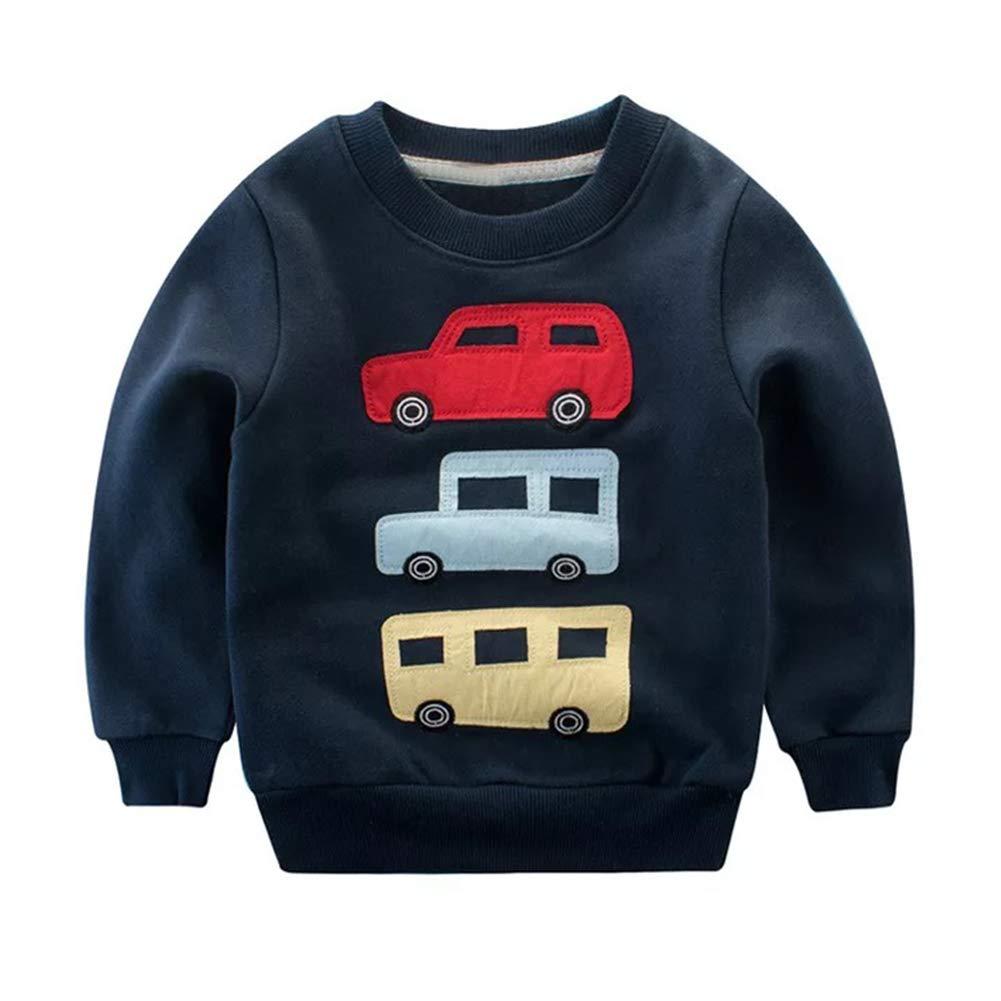 YOHA Baby Boys Warm Fleece Cartoon Long Sleeve Top Sweatshirt Kids Casual Tops
